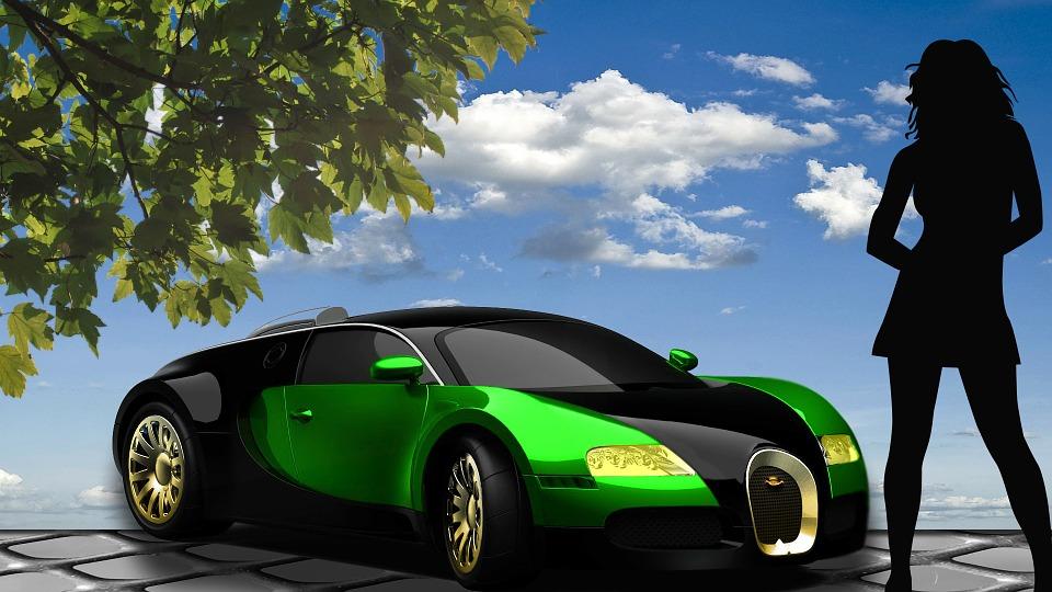 silueta, zelené auto